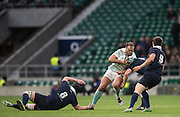 Twickenham, United Kingdom. Jamie ROBERTS going for the gap betwwen, left Fraser HEATHCOTE and Andrew GRANT, during the 2015 Men's Varsity Match, Oxford vs Cambridge, RFU Twickenham Stadium, England.<br /> <br /> Thursday  10/12/2015<br /> <br /> [Mandatory Credit. Peter SPURRIER/Intersport Images].