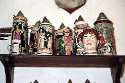 Image taken in July 2001 at the Bayrn Strube Restaurant in Gibson City Illinois.<br /> <br /> The interior is decorated with period and culture related items such as beer steins, musical instruments, animal furs and skins, booths, tables and chairs and bar stools.<br /> <br /> This image was scanned from a slide, print or transparency.  Image quality may vary.  Dust and other unwanted artifacts may exist.