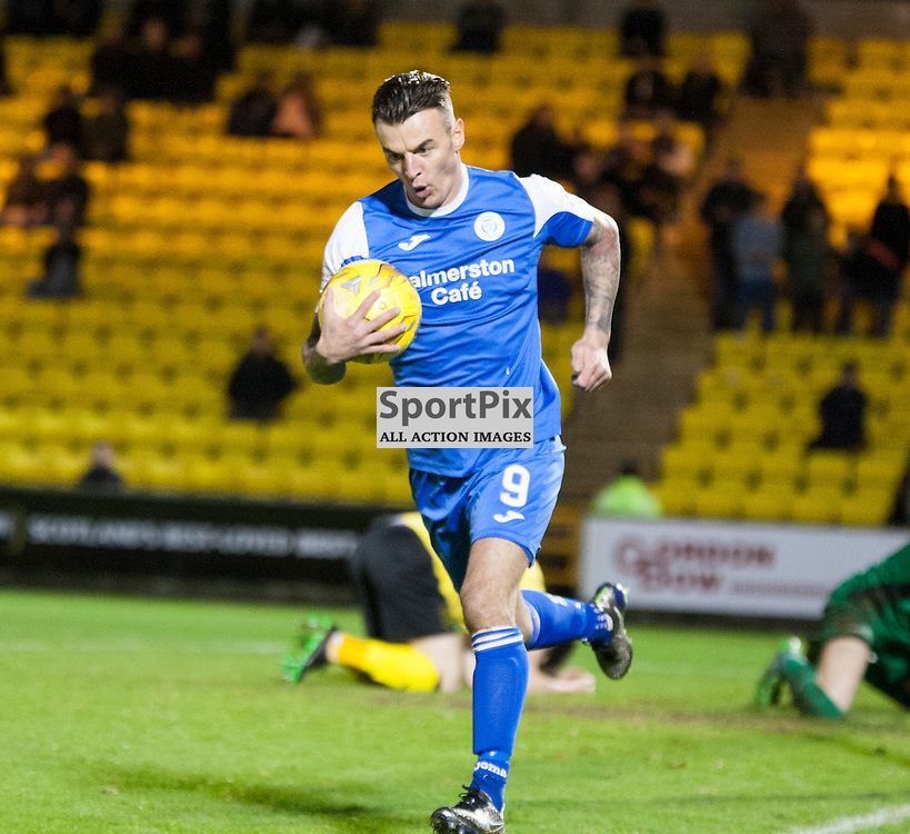 Livingston v Queen of the South, Scottish Championship, 2 January 2016, Derek Lyle (Queen of the South, 9) celebrates opening the scoring during the Livingston v Queen of the South Scottish Championship match played at the Toni Macaroni Arena, © Chris Johnston | SportPix.org.uk