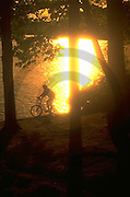 Outdoor recreation, Biking in PA Bicycling, Young Male, PA Lake Sunset