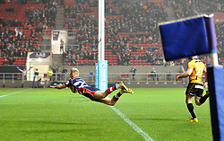 Mat Protheroe of Bristol Rugby dives over the line to score a try - Mandatory by-line: Paul Knight/JMP - 22/12/2017 - RUGBY - Ashton Gate Stadium - Bristol, England - Bristol Rugby v Cornish Pirates - Greene King IPA Championship