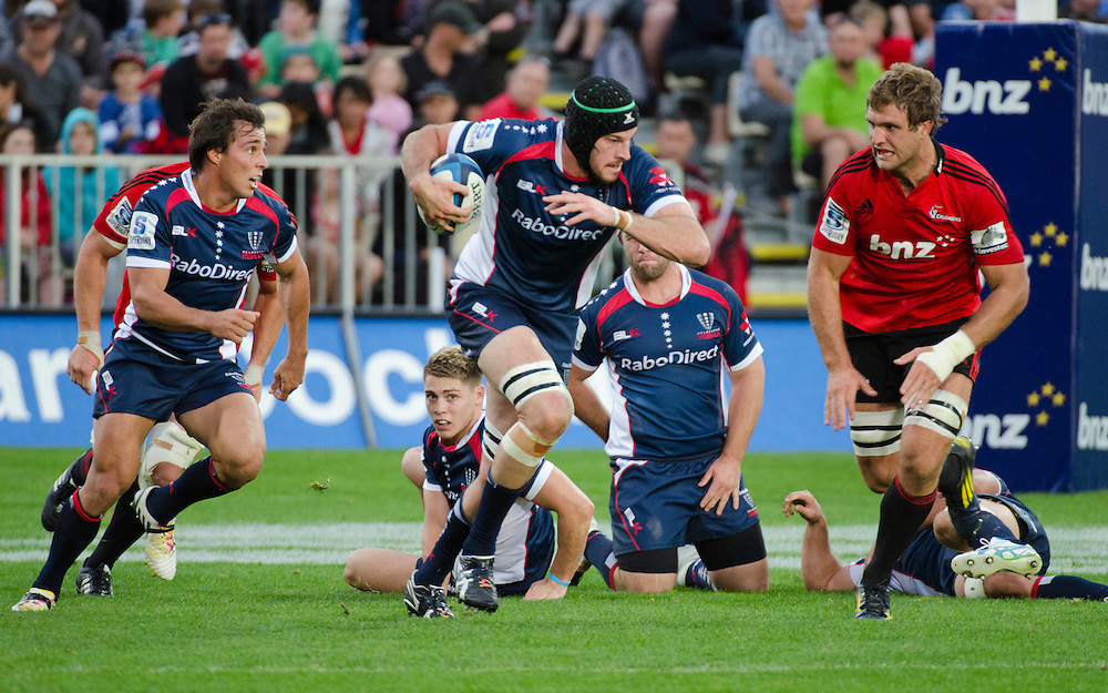 Rebels Hugh Pyle makes a break against the Crusaders in the Super Rugby match played at AMI Stadium, Christchurch, New Zealand, Sunday, April 28, 2013. Credit:SNPA / David Alexander.