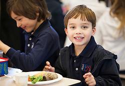 Scenes of  the Santa Rosa French-American Charter School in Santa Rosa,  California .  Students enjoy lunch.