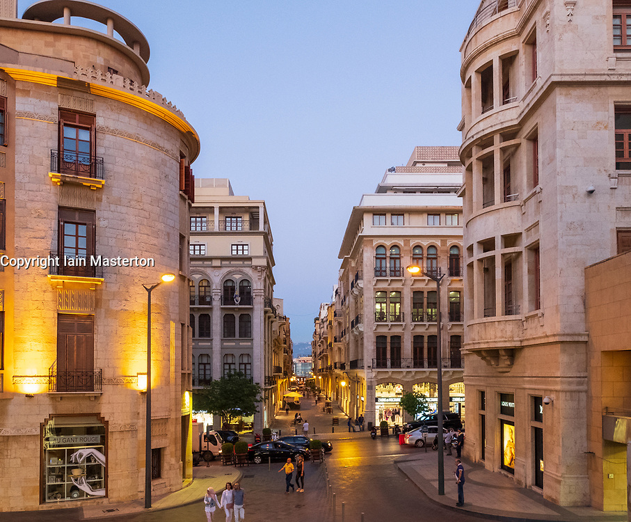 Colonial architecture of restored buildings in Downtown district Beirut, Lebanon