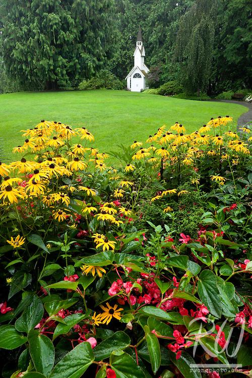 Prairie Coneflowers and Chapel at Minter Gardens, Chilliwack, B.C.