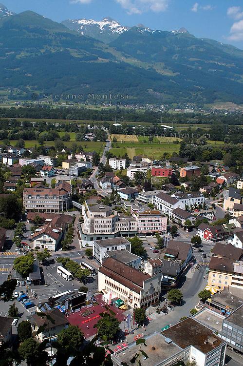 Liechtenstein  Vaduz  June 2008.View of Vaduz in the Principality of Liechtenstein and of the Rhine Valley..