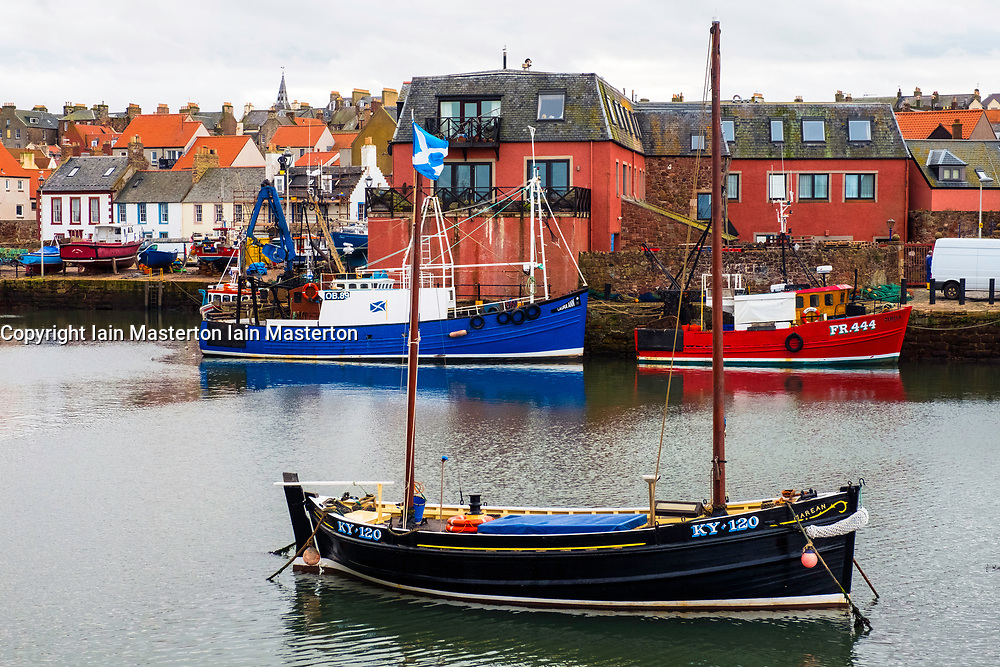 View of fishing boats in harbour at Dunbar on East coast of Scotland, United Kingdom.