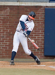 Virginia Cavaliers pitcher/firstbaseman Sean Doolittle (21) connects on a W&M pitch.  The Virginia Cavaliers Baseball Team defeated William and Mary 17-2 at Davenport Field in Charlottesville, VA on February 20, 2007.