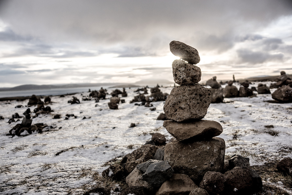 Iceland Cairn serves as a navigation through Iceland's tough terrain