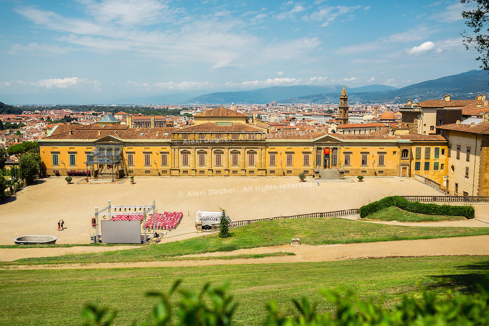 Skyline of the city and back view of Palazzo Pitti, facing Boboli Gardens - Florence, Italy 2014