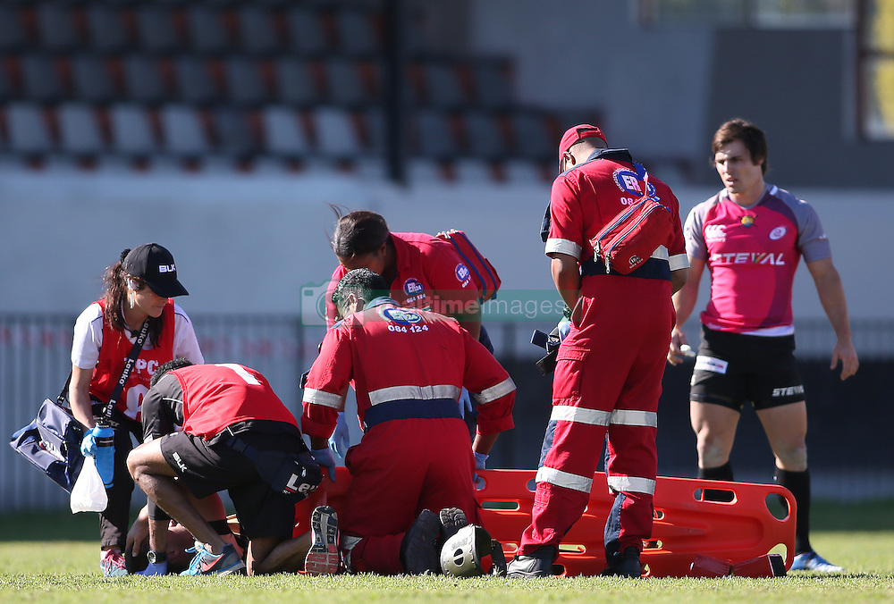 An injured player receives treatment during the Currie Cup premier division match between the Boland Cavaliers and The Pumas held at Boland Stadium, Wellington, South Africa on the 2nd September 2016<br /> <br /> Photo by:   Shaun Roy/ Real Time Images