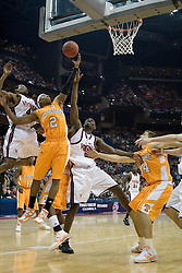Tennessee Volunteers guard JaJuan Smith (2) battles with Virginia Cavaliers center Tunji Soroye (21) for a rebound.  The #4 seed Virginia Cavaliers were defeated by the #5 seed Tennessee Volunteers 77-74 in the second round of the Men's NCAA Tournament in Columbus, OH on March 18, 2007.