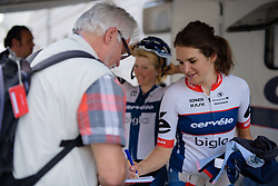 Joëlle Numainville (Cervélo Bigla) keeping the autograph hunters happy at Thüringen Rundfarht 2016 - Stage 4 a 19km time trial starting and finishing in Zeulenroda Triebes, Germany on 18th July 2016.