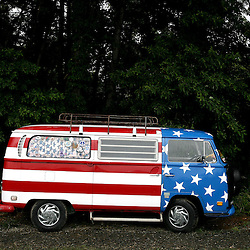 July 5, 2008 -  Picture shows a VW van with patriotic paint during the Wine Down the Music Trail 2008 in Floyd, Virginia. The festival is open July 5th and 6th from 11am to 6pm.