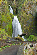 """A lower section of Wahkeena Falls (242 foot total plunge), on Wahkeena Creek, in Columbia River Gorge National Scenic Area, Oregon. Formerly known as Gordon Falls, a 1915 committee of the Mazamas changed the name to Wahkeena, the Yakima Indian word for """"most beautiful."""""""