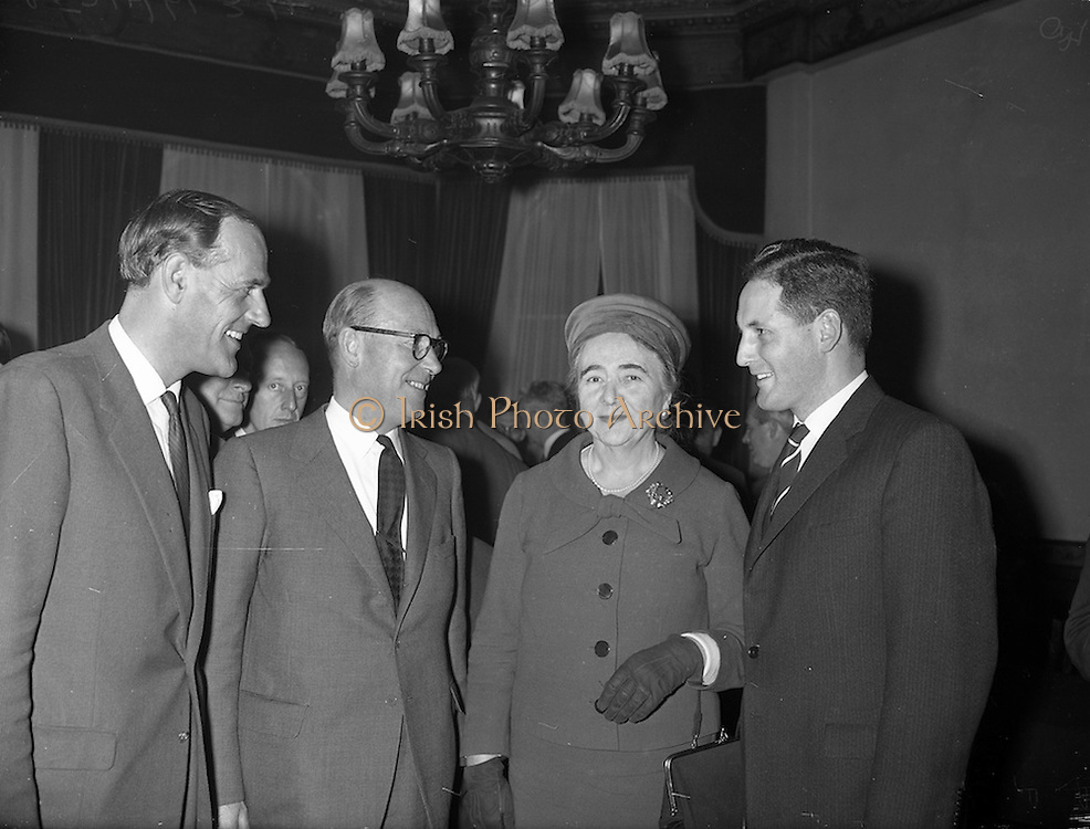 27/09/960<br /> 09/27/1960<br /> 27 September 1960<br /> The Irish Packaging Awards. Press conference to announce the results of the packaging competition at the Shelbourne Hotel, Dublin.  At the event were (l-r): Mr. Frank Sutton; Mr. Norman Goodbody; Senator Jane Dowdall and Mr. W.J. Killeen.