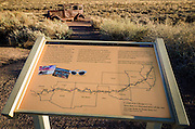 Route 66 historic sign and map, Petrified Forest National Park, Arizona USA