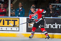KELOWNA, CANADA - NOVEMBER 26: Cal Foote #25 of the Kelowna Rockets passes the puck against the Regina Pats on November 26, 2016 at Prospera Place in Kelowna, British Columbia, Canada.  (Photo by Marissa Baecker/Shoot the Breeze)  *** Local Caption ***