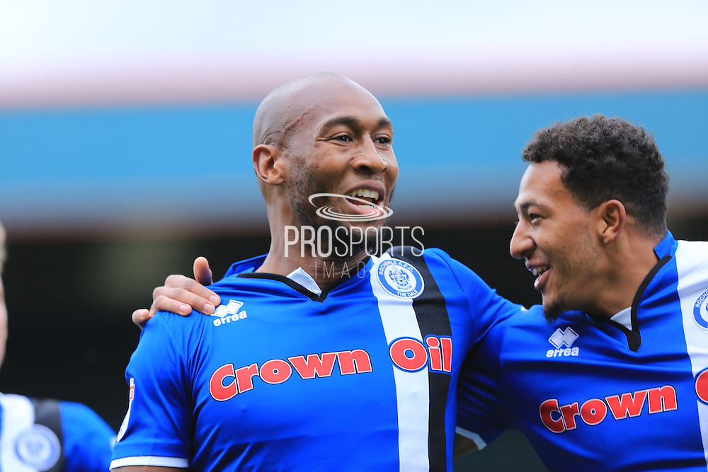 GOAL Calvin Andrew celebrates with Nathaniel Mendez-Laing 2-0  during the EFL Sky Bet League 1 match between Rochdale and Southend United at Spotland, Rochdale, England on 8 October 2016. Photo by Daniel Youngs.