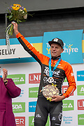 Jesper Asselman of Roompot - Charles winner of stage 1 of the 2019 Tour de Yorkshire on podium for stage winner presentation during the first stage of the Tour de Yorkshire from Doncaster to Selby, Doncaster, United Kingdom on 2 May 2019.