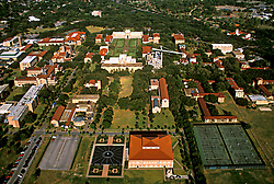 Stock photo of an aerial view of the Rice University campus in Houston Texas