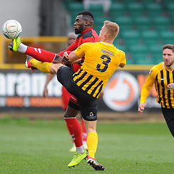 TELFORD COPYRIGHT MIKE SHERIDAN 2/3/2019 - Amari Morgan Smith of AFC Telford battles for the ball during the National League North fixture between Boston United and AFC Telford United at the York Street Jakemans Stadium