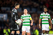 Celtic midfielder Scott Brown (#8) goes to collect the ball for a Celtic penalty from Aberdeen goalkeeper Joe Lewis (#1) during the Scottish Cup final match between Aberdeen and Celtic at Hampden Park, Glasgow, United Kingdom on 27 November 2016. Photo by Craig Doyle.