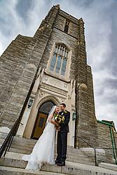Bride & Groom outside Catholic Church.