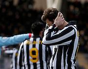 ITALY, Lecce :Disperazione di Barzagli J during the Serie A match between Lecce and Juventus at Stadio Via del Mare in Lecce on February 20, 2011. .AFP PHOTO / GIOVANNI MARINO