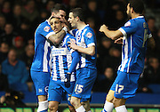 Brighton striker Anthony Knockaert celebrates after opening the scoring during the Sky Bet Championship match between Brighton and Hove Albion and Brentford at the American Express Community Stadium, Brighton and Hove, England on 5 February 2016. Photo by Bennett Dean.