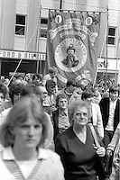 Mines Rescue banner, 1983 Yorkshire Miner's Gala. Barnsley