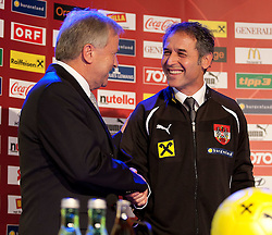 04.10.2011, Oberwart, AUT, OeFB, Praesentation Nationalteam Trainer, im Bild Leo Windtner ueberreicht Marcel Koller seine neue Trainingsjacke // during the presentation of the new OeFB coach in Oberwart, AUT, on 2011-10-04, EXPA Pictures © 2011, PhotoCredit: EXPA/ Erwin Scheriau