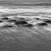 Bowling Ball Beach Rolling Surf - Gallaway, CA - Black & White