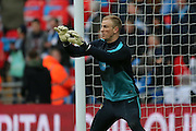Manchester City goalkeeper Joe Hart (1)  during the Capital One Cup match between Liverpool and Manchester City at Anfield, Liverpool, England on 28 February 2016. Photo by Simon Davies.