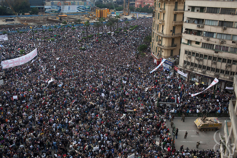 """Hundreds of thousands of Egyptians gather for a """"million man march"""" demonstration February 01, 2011 in Central Cairo's Tahrir, or """"Liberation"""" square. The march capped a week of protests that are threatening to bring down the nearly 30 year old regime of Hosni Mubarak."""