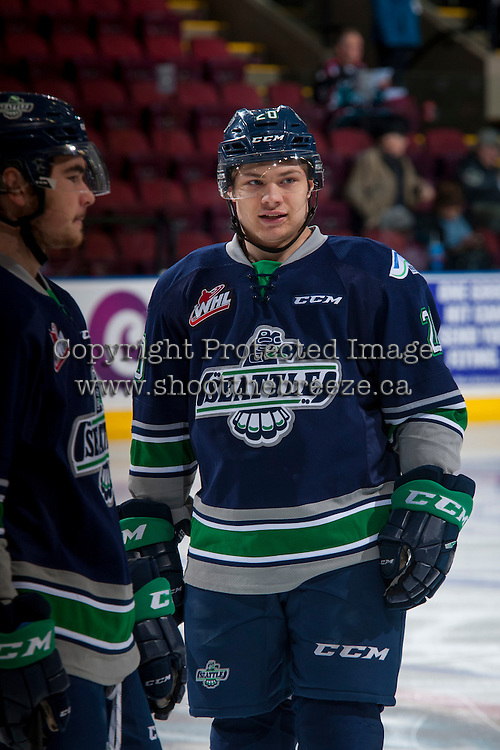 KELOWNA, CANADA - FEBRUARY 13: Zack Andrusiak #20 of the Seattle Thunderbirds stands on the ice during warm up against the Kelowna Rockets on February 13, 2017 at Prospera Place in Kelowna, British Columbia, Canada.  (Photo by Marissa Baecker/Shoot the Breeze)  *** Local Caption ***