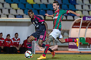 Portugal, FUNCHAL : Benfica's Brazilian midfielder Talisca (L )  vies with Maritimo's Portuguese defender Rúben Ferreira   (R ) during Portuguese League football match Maritimo vs S.L. Benfica at Barreiros Stadium in Funchal on January  18, 2015. PHOTO/ GREGORIO CUNHA