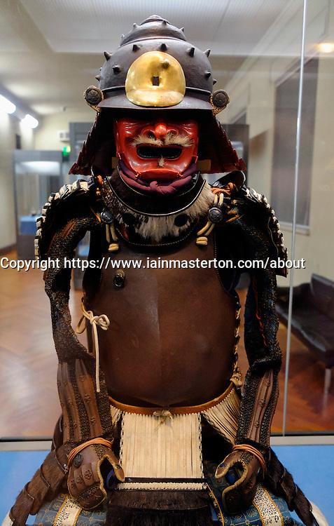 Samurai armour on display at Tokyo National Museum in Tokyo Japan
