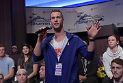 Jan 18, 2019; Sparks, NV, USA;  Scott Houston speaks at the UCS Spirit National Pole Vault Summit general assembly at the Nugget Casino Resort.
