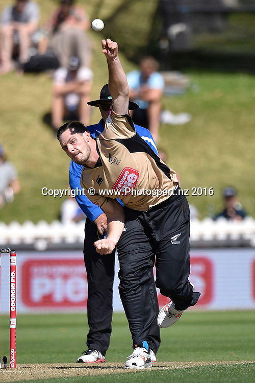 Mitchell McClenaghan of the North Island bowls during the North Island vs South Island cricket match at the Basin Reserve in Wellington on Sunday the 28th of February 2016. Copyright Photo by Marty Melville / www.Photosport.nz