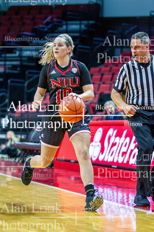 NORMAL, IL - November 20:  Referee Kalei Enterline watches as Chelby Koker brings the ball up the court during a college women's basketball game between the ISU Redbirds and the Huskies of Northern Illinois November 20 2019 at Redbird Arena in Normal, IL. (Photo by Alan Look)
