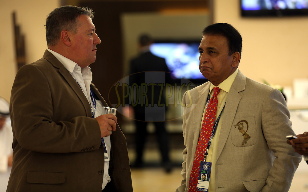 David East CEO at Emirates Cricket Board and Abu Dhabi Cricket Club and Sunil Gavaskar interim President of BCCI  during match 20 of the Pepsi Indian Premier League Season 2014 between the Mumbai Indians and the Sunrisers Hyderabad held at the Dubai International Stadium, Dubai, United Arab Emirates on the 30th April 2014<br /> <br /> Photo by Sandeep Shetty / IPL / SPORTZPICS