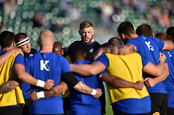 Dave Attwood of Bath Rugby speaks to his players during the pre-match warm-up - Mandatory byline: Patrick Khachfe/JMP - 07966 386802 - 26/09/2015 - RUGBY UNION - The Recreation Ground - Bath, England - Bath Rugby v Gloucester Rugby - West Country Challenge Cup.