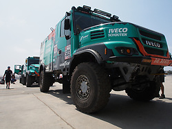 January 5, 2019 - Lima, Lima, Peru - Iveco Truck 503, Gerard De Rooy from Netherland, Darek Rodewald from Poland and Moises Torrallardona from Spain, Petronas De Rooy Iveco team, passing the technical scrutineering. The Dakar rally runs this year 100% in Peru. (Credit Image: © Carlos Garcia Granthon/ZUMA Wire)
