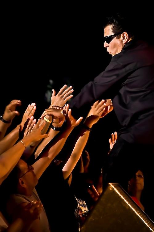 Ceasr Rosas of Los Lobos greets fans at concert in Dublin, CA.  Copyright 2008 Reid McNally.