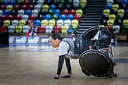 UNITED KINGDOM, London: 2015 World Wheelchair Rugby Challenge. Caption: New Zealand's Maia Amai tries to get back up after being knocked over during a game between New Zealand and South Africa. Rick Findler / Story Picture Agency