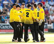 Gloucestershire players celebrate the wicket of Glamorgan's Kieran Carlson<br /> <br /> Photographer Simon King/Replay Images<br /> <br /> Vitality Blast T20 - Round 8 - Glamorgan v Gloucestershire - Friday 3rd August 2018 - Sophia Gardens - Cardiff<br /> <br /> World Copyright &copy; Replay Images . All rights reserved. info@replayimages.co.uk - http://replayimages.co.uk