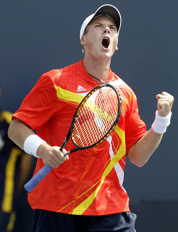 Evgeny Korolev of Russia reacts as he plays Stanislas Wawrinka of Switzerland during their first round match on the third day of the 2007 US Open tennis tournament in Flushing Meadows, New York, USA, 29 August 2007.