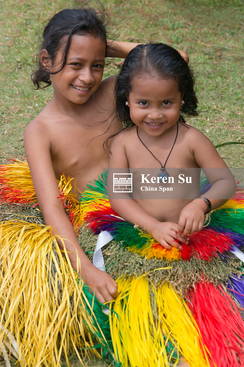 Little Yapese girls in traditional clothing, Yap Island, Federated States of Micronesia