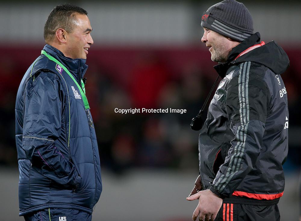 Guinness PRO12, Thomond Park, Limerick 28/11/2015<br /> Munster vs Connacht<br /> Munster's head coach Anthony Foley and head coach Pat Lam of Connacht <br /> Mandatory Credit &copy;INPHO/Dan Sheridan